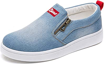 Women Shoes Flats Denim Jeans Button Sneaker Low Top Wide Width Canvas Casual Shoes Slip-on Loafers by Nevera