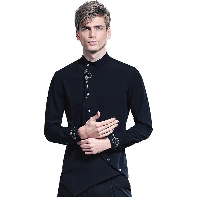 873c1995d99af FANZHUAN Camisa Negra Hombre Manga Larga Cuello Mao Fashion Slim Fit  Amazon .es  Ropa y accesorios