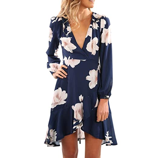 Funic Womens Dress Women V Neck Floral Printing Long Sleeve