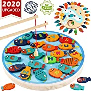 CozyBomB Magnetic Wooden Fishing Game Toy for Toddlers - Alphabet Fish Catching Counting Preschool Board Games