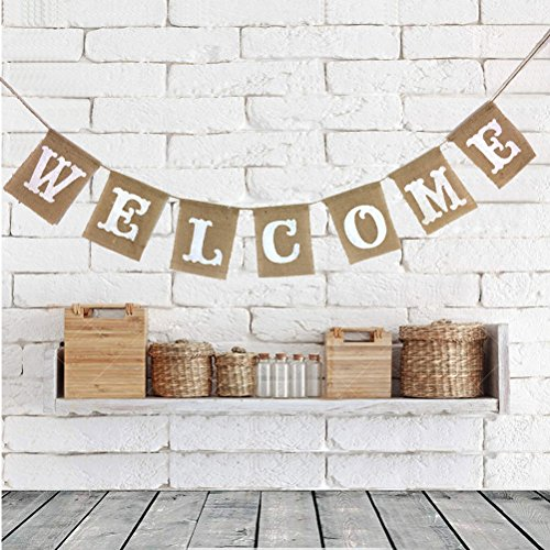 LUOEM Welcome Sign Banner Party Accessory Party Welcome Decors Burlap Bunting Banners for Christmas Festival Babby Shower