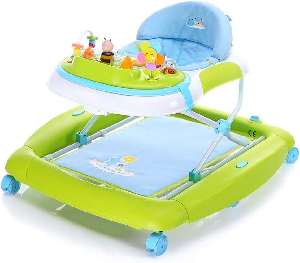 YOLL Altura Ajustable Andadores Bebé, Anti-O-Pierna del Bebé Andadores, 2 En 1 Bebé Andadores, con Música Antivuelco Andadores, Variable del Caballo De Oscilación del Bebé Andadores
