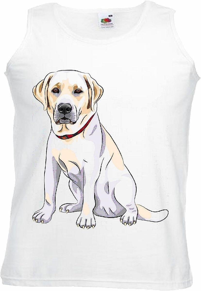 Camisa del músculo Tank Top Labrador cría de Perros de la casa Perros Perrera DE CRIADORES DE Perrito Cuidado DE FORMACIÓN Manga en Blanco: Amazon.es: Ropa y accesorios