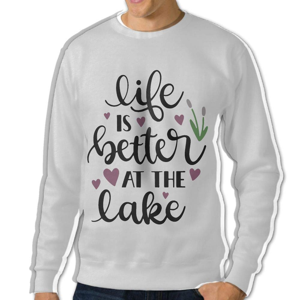 LLiYing-D Life is Better at The Lake Adult Mens Sports Long Sleeve Hoodie T Shirt