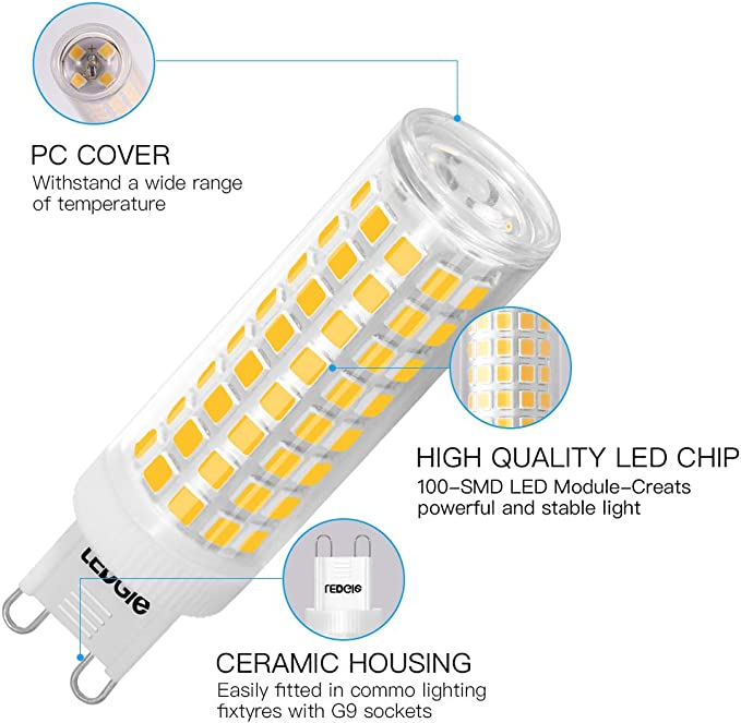 LEDGLE Ampoule LED G9 Sans Scintillement,900lm non-dimmable 10W /équivalent 100W Blanc Chaud 3000K Classe /énerg/étique A+ Lot de 5