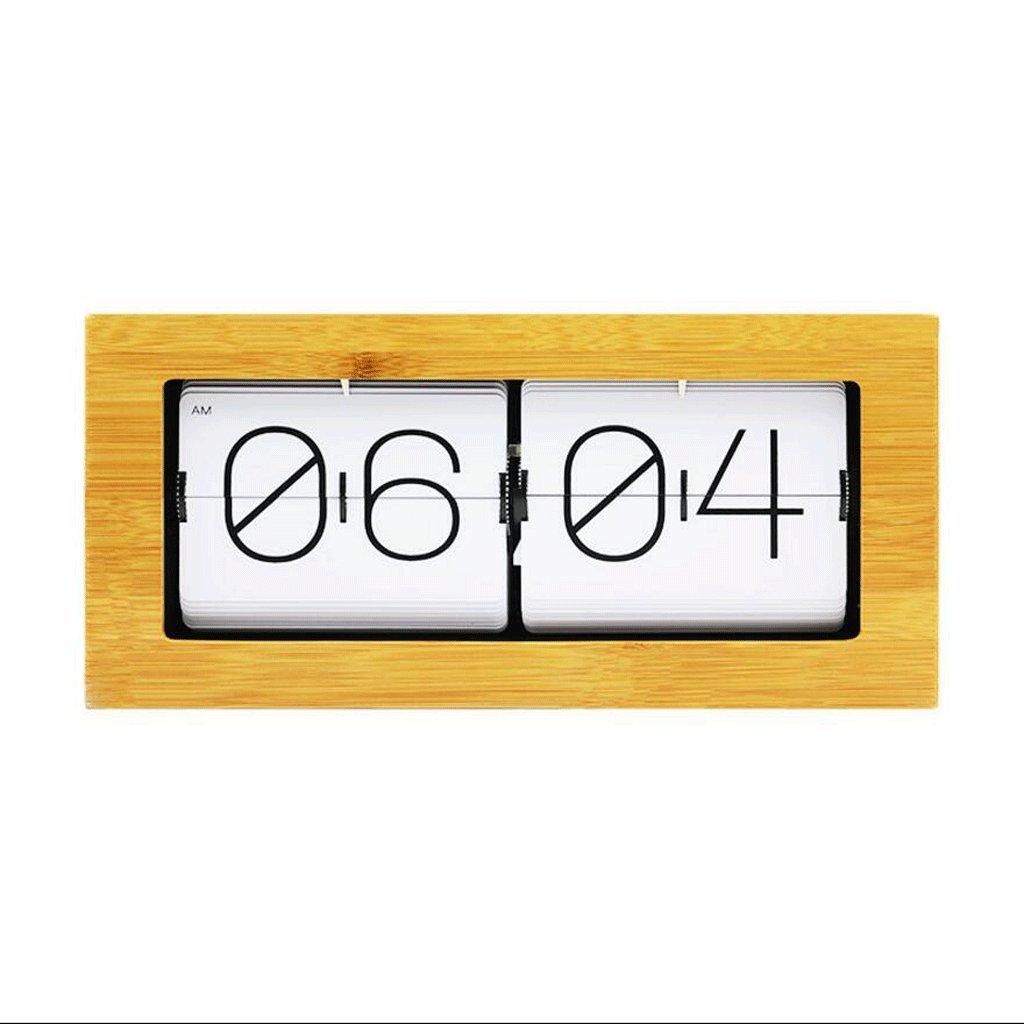 LINGZHIGAN 竹ウッドクリエイティブ自動フリップ時計リビングルーム時計クリエイティブフリップページウォールクロック ( 色 : A ) B07CK8QMV9 A A