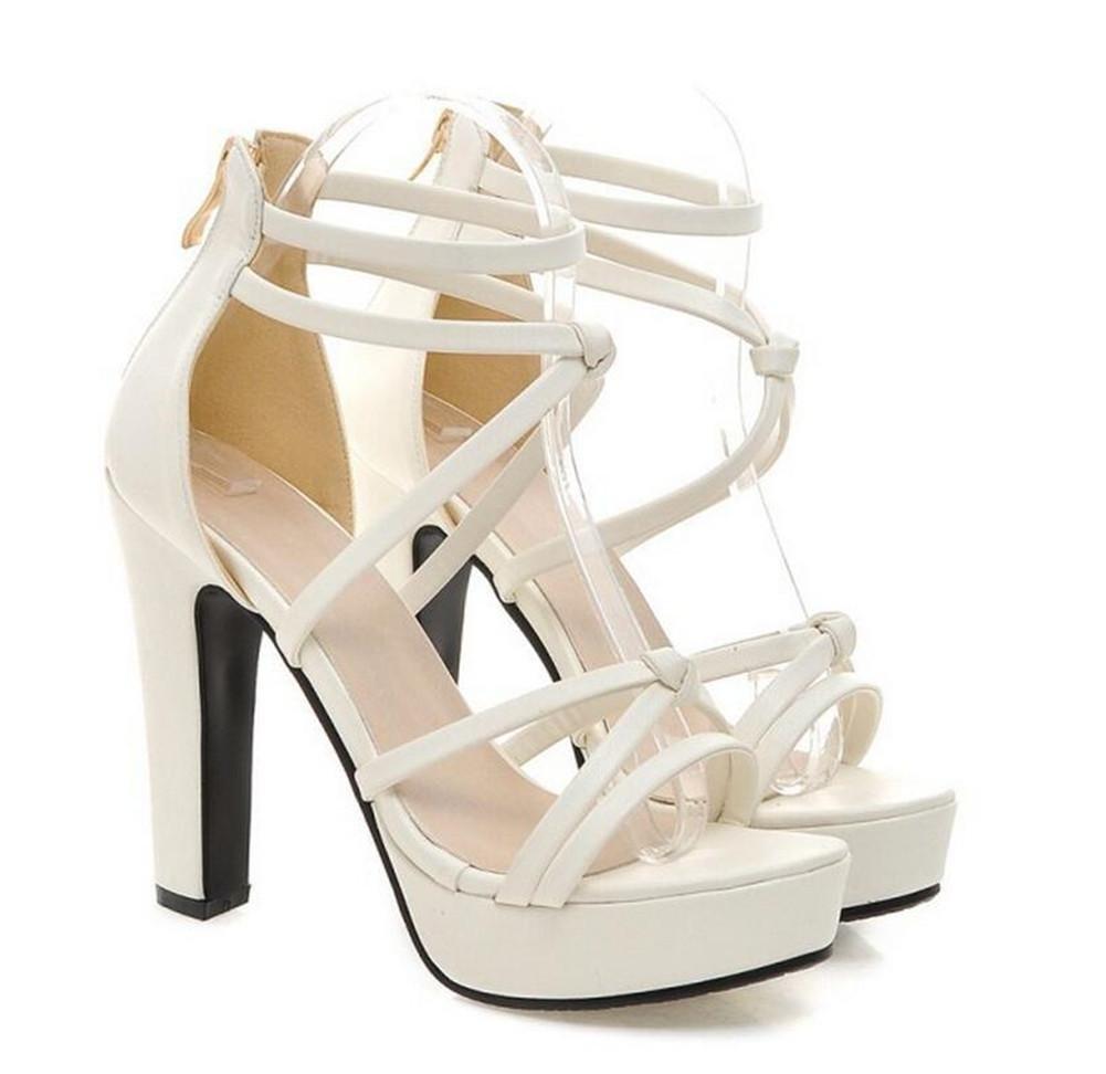 XIE Zapatos de Dedo del pie Abierto del Tacón Alto La Correa Fina Atractiva de la Correa ata con Correa la Hembra de Las Sandalias, White, 36 WHITE-36