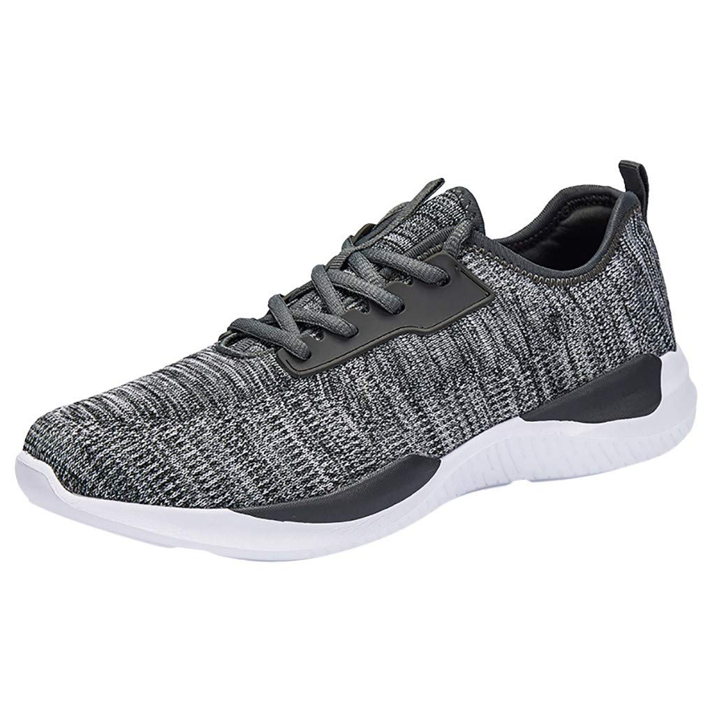 ZOMUSAR Fashion Men's Flying Woven Breathable Non-Slip Wear-Resistant Cushion Sneakers Gray by ZOMUSAR