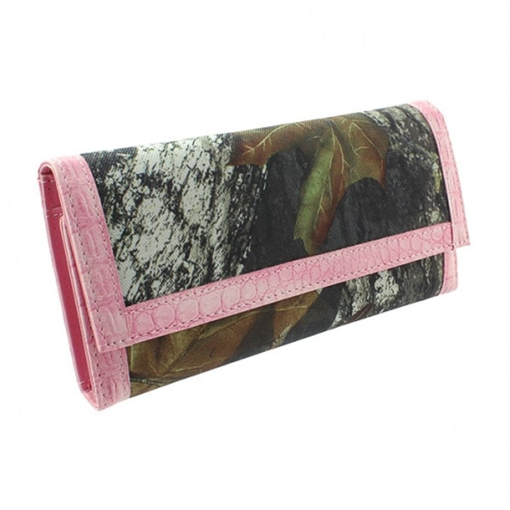 Licensed Mossy Oak Camouflage Camo Women Trifold Wallet Pink Trim