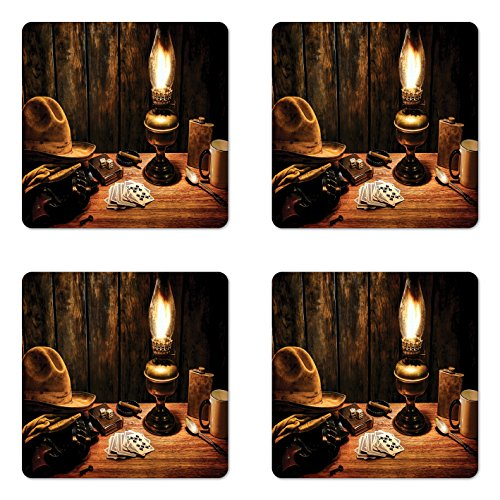 (Lunarable Western Coaster Set of 4, Mystic Night in Hotel Room Dallas with Lantern Nightstand Table and Poker Card Design, Square Hardboard Gloss Coasters, Standard Size, Brown)