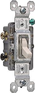 Legrand - Pass & Seymour 663LASLGCC10 Three Way Lighted Toggle Switch 15-Amp 120-volt High Impact Resistant Construction