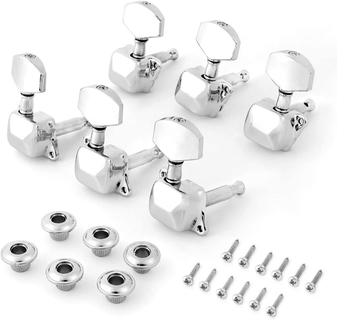 Kmise String Tuning Pegs Tuners Machine Heads Button Keys 3l3r Chrome For Acoustic Guitar Parts 1 Set