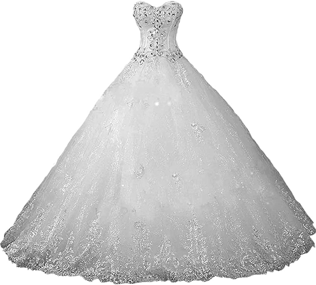 Chady Sweetheart Lace Rhinestone Plus Size Wedding Dresses Ball Gowns 2018  Court Train Wedding Gowns Tulle Bridal Dress