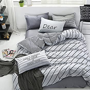 Wonbye Stripe White Bedding 4 Pieces Duvet Cover Set, Queen Size 300 Thread  Count 100