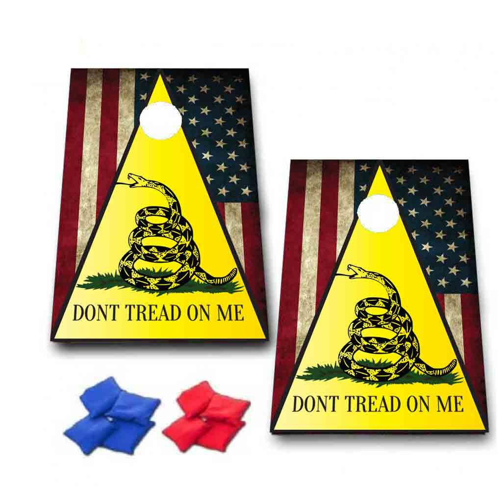 VictoryStore Cornhole Games - Don't Tread On Me Cornhole Game - Patriotic Don't Tread On Me Bag Toss Game - 8 Bags Included - Wooden Boards by VictoryStore