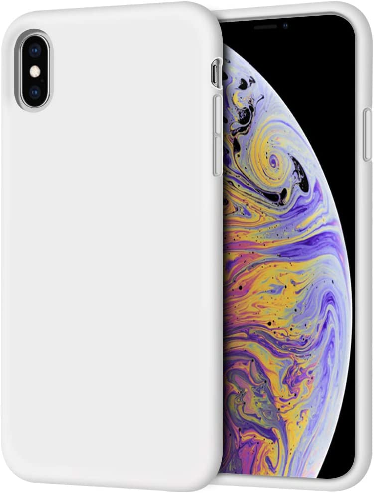 "iPhone Xs Max Case, Anuck Soft Silicone Gel Rubber Bumper Case Anti-Scratch Microfiber Lining Hard Shell Shockproof Full-Body Protective Case Cover for Apple iPhone Xs Max 6.5"" 2018 - White"