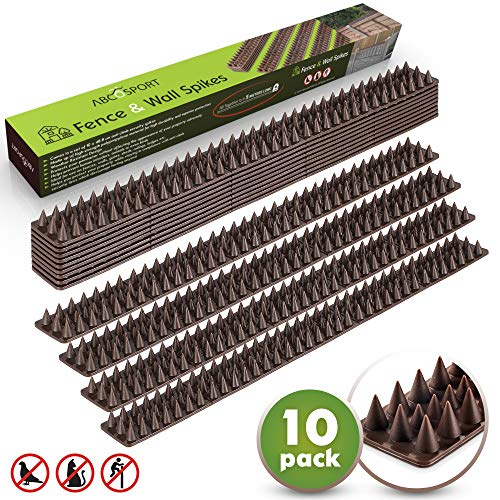 (Bird Spikes - Set of 10 Spike Strips- Effective Deterrent for Animals, Pigeons, Other Small Birds - Protect Your Fence, Walls & Railings- No Tools Needed (Brown))
