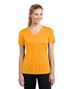 SPORT-TEK Women's V Neck PosiCharge Competitor Tee XXL Gold