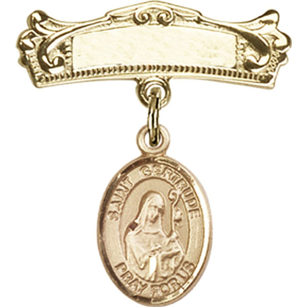 14kt Yellow Gold Baby Badge with St. Gertrude of Nivelles Charm and Arched Polished Badge Pin 7/8 X 3/4 inches by Unknown