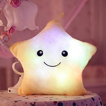 Missley Étoile coussin doux en peluche avec lumière à LED - Pour le camping, le