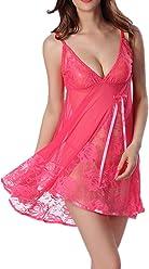 c099b83156055 CinGr8 Women Lingerie Strap Semi-Sheer Babydoll Lace Patchwork Nightwear
