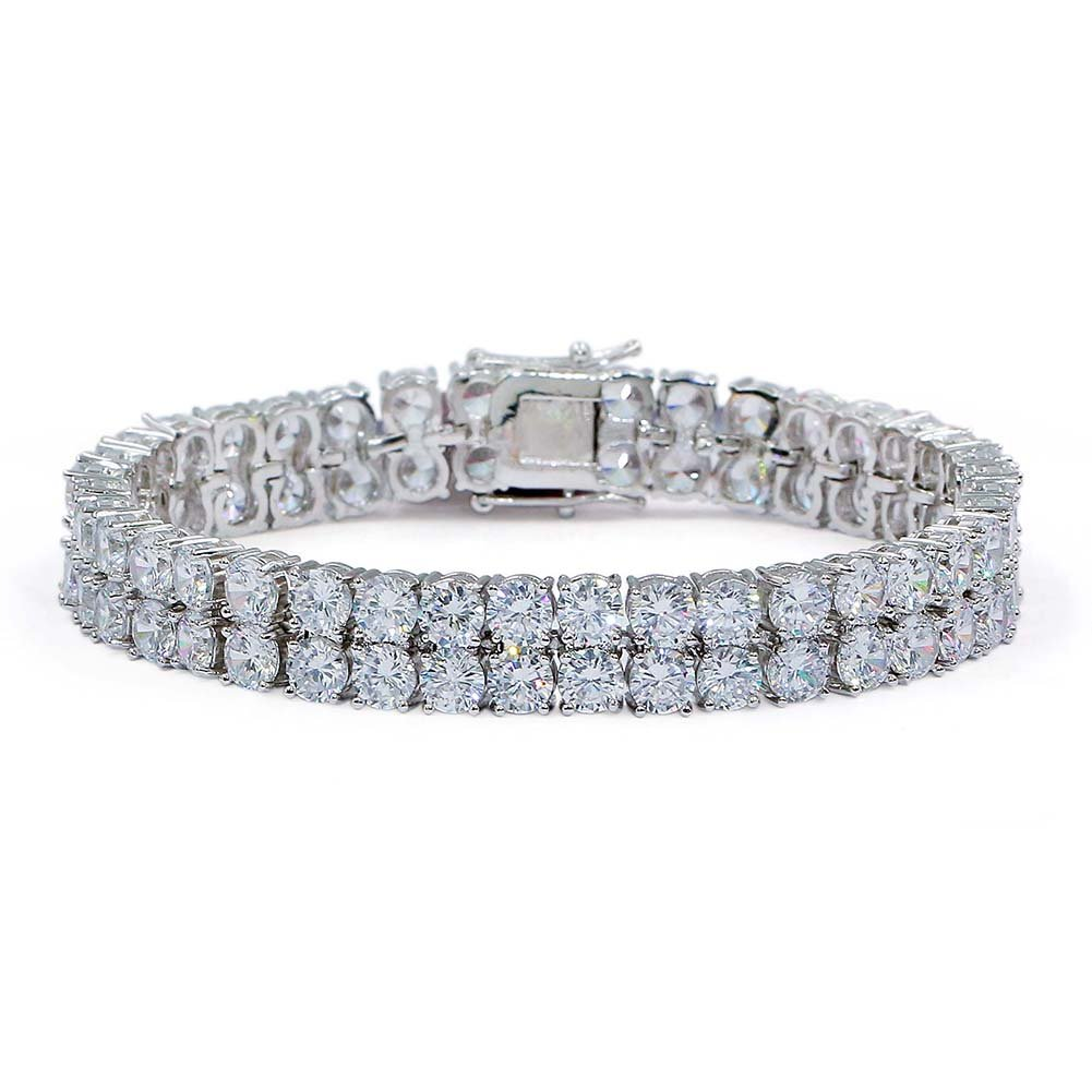 JINAO 2 Rows AAA Gold Silver Iced Out Tennis Bling Lab Simulated Diamond Bracelet 8'' 7''¡­ Jin'ao Accessories Co .Ltd