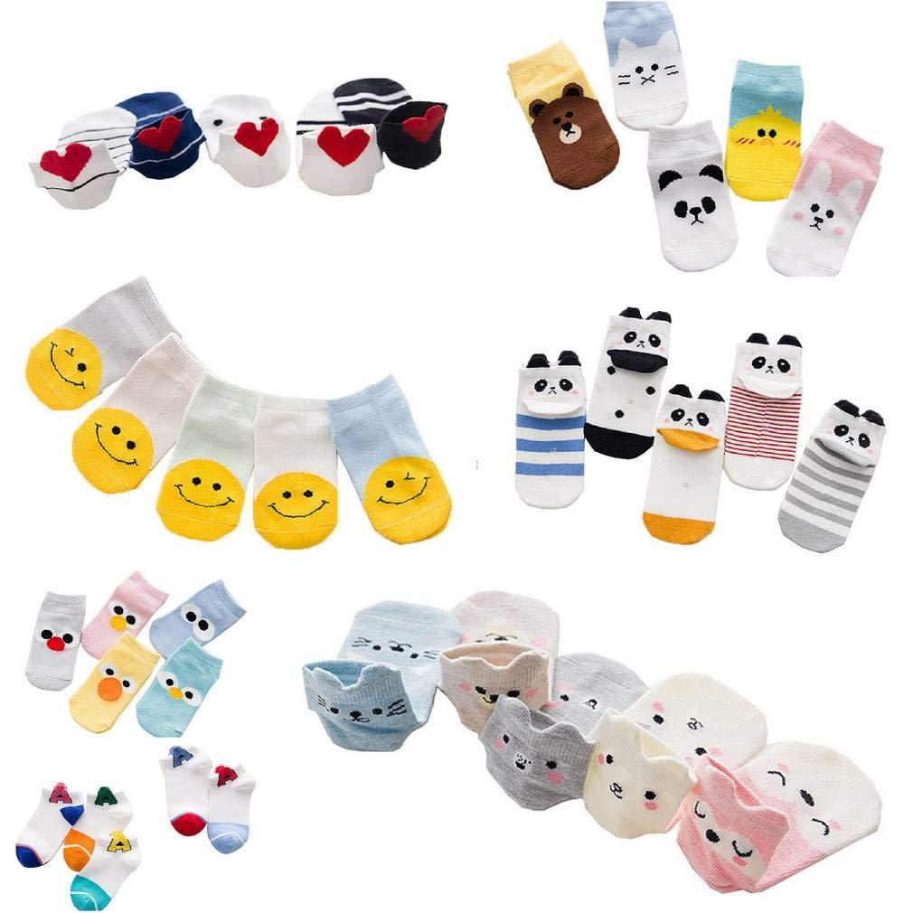 AOYOMO Kids Child 5 Pairs Smile Face Print Soft Cotton Short Crew Socks