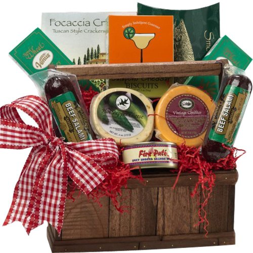 Meat and Cheese Lovers Gourmet Food Gift Basket with Smoked Salmon