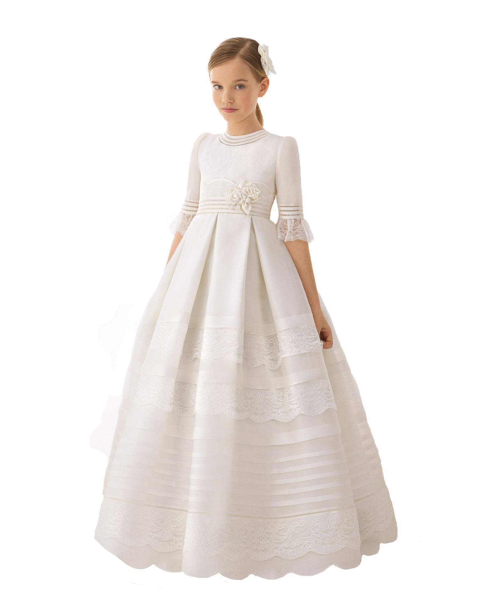 Graceprom Girls Half Sleeves First Communion Dresses Kids Ball Gown Flower Girl Dresses 10