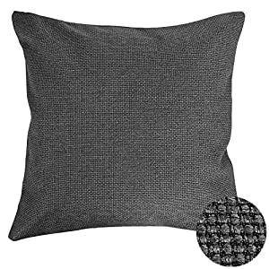 Deconovo Pillow Case Covers With Zipper Grey 18x18 Pillow Cover Cushions Decorative Dark Grey