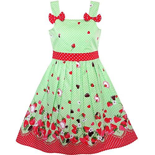 KM41 Girls Dress Cartoon Polka Dot Bow Tie Strawberry Size 2-3 -