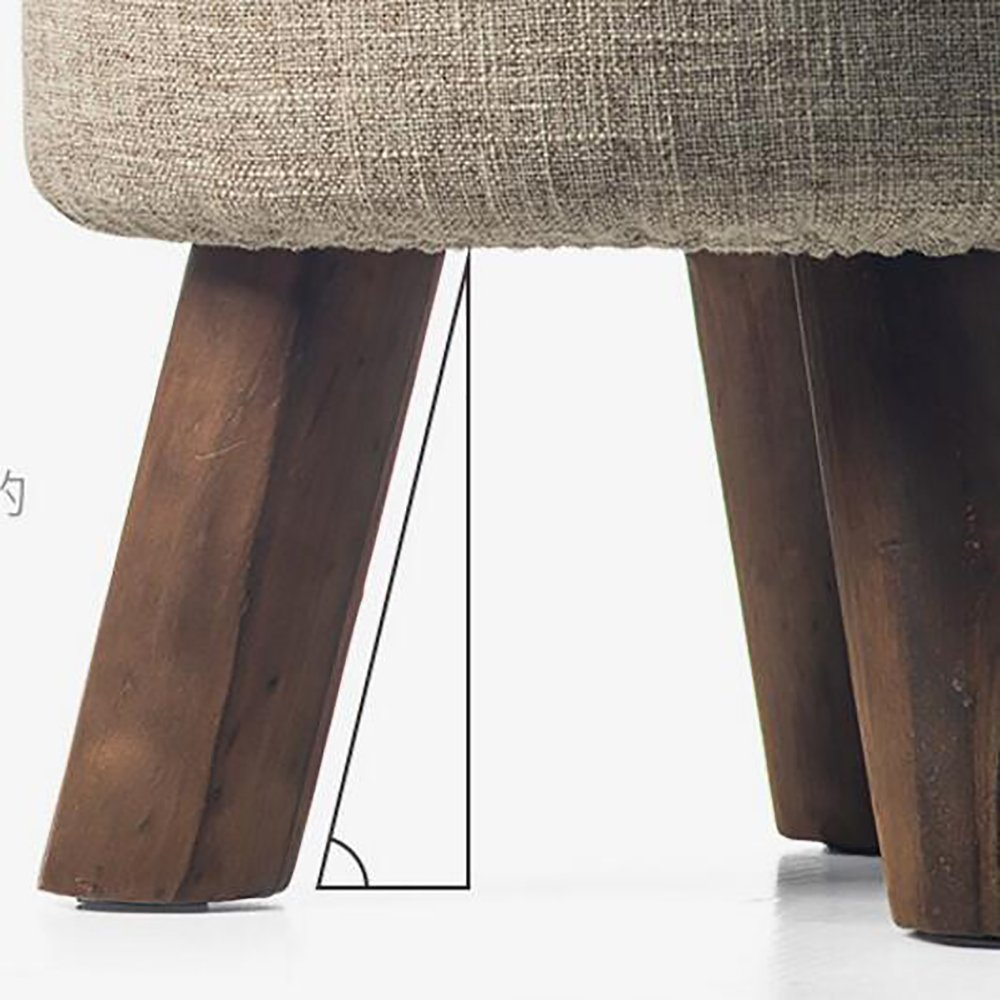 YQ WHJB Ottoman Footstool,Upholstered Footstool,Wood Legs Linen Fabric Cover Round Block Living Room Small Removable Change Shoe Bench-U by YQ WHJB (Image #5)
