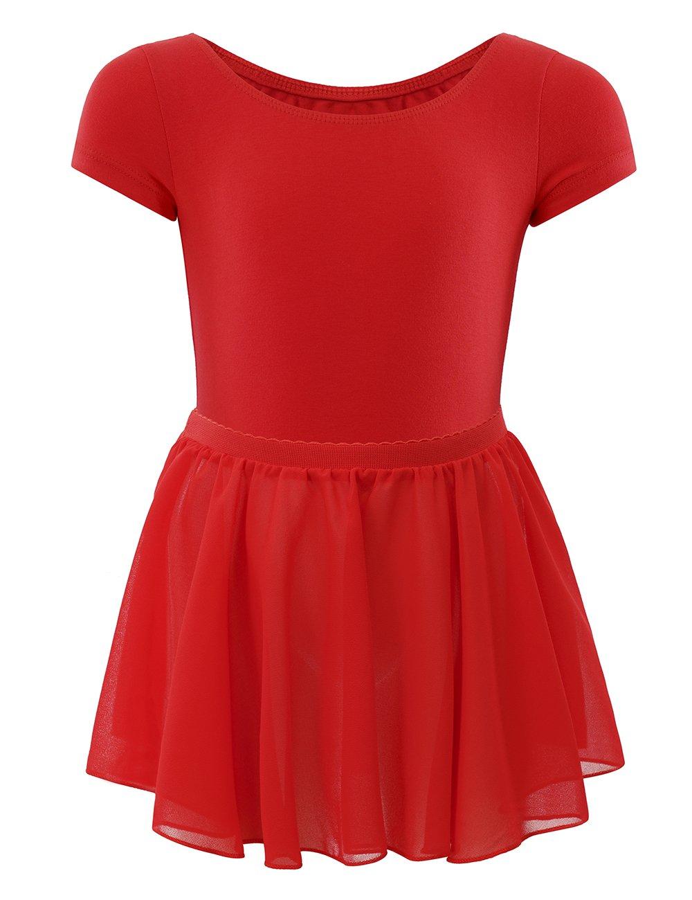 WEGETIT Skirted Leotard Toddler Girls Ballet Tutu Dress (6-8 Years, Red)