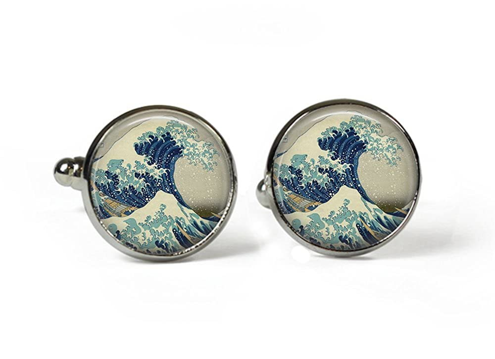 Rosetta London The GREAT WAVE Hokusai - Glass Picture Cufflinks – Silver Plated TheGreatWaveCuff