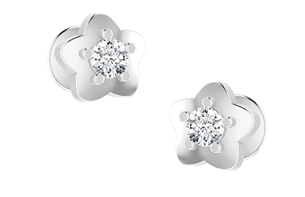 Dishis Designer Jewellery 18KT White Gold and Diamond Stud Earrings for Women Earrings