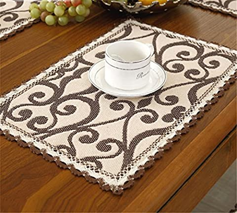 Brief style 100% cotton handmade brown flower beige placemats 12 inch 18 inch approx set of 4 (Nubby Place Mat)