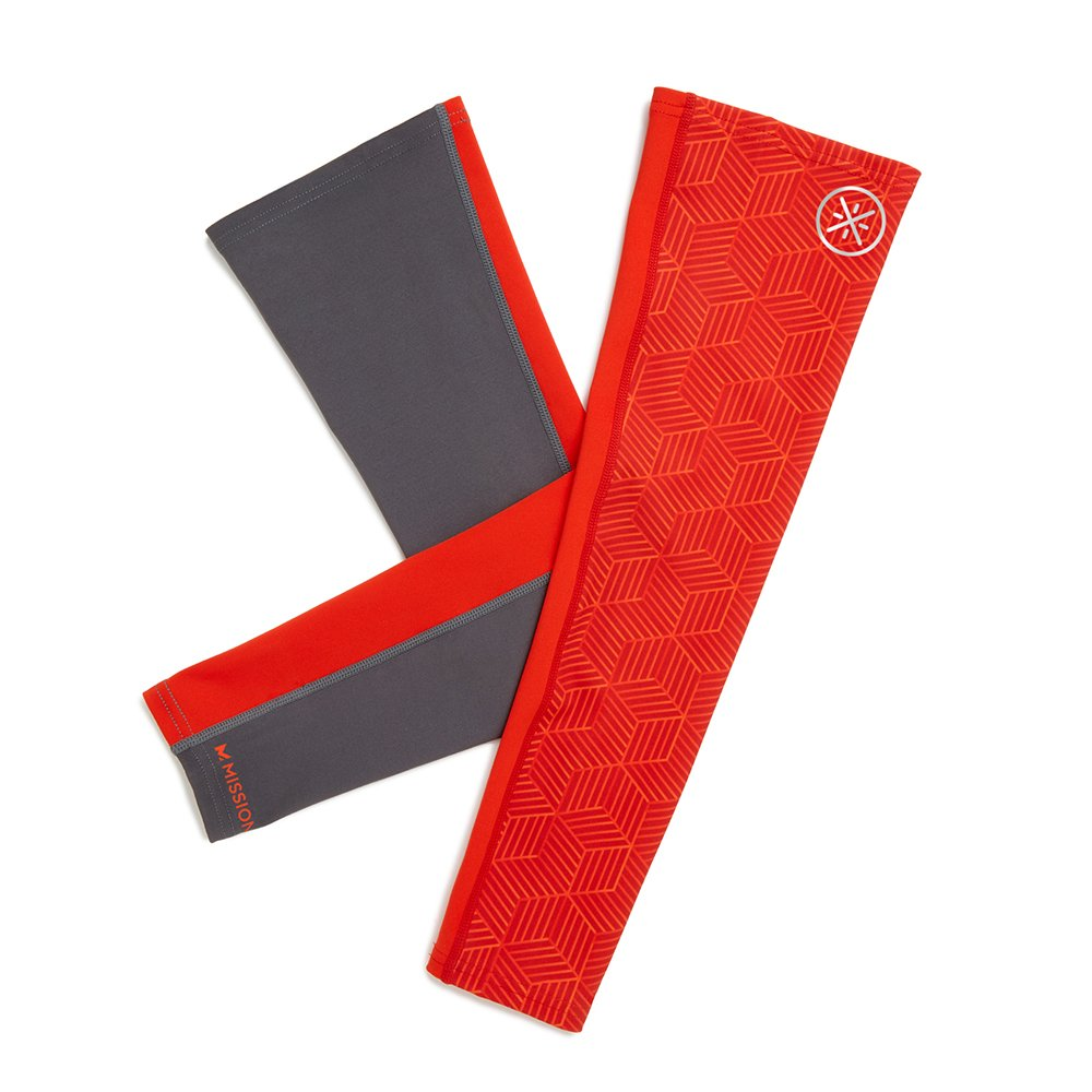 Mission X Wade Collection Men's Cooling Compression Arm Sleeves, Hex Orange/Grey, Large/X-Large