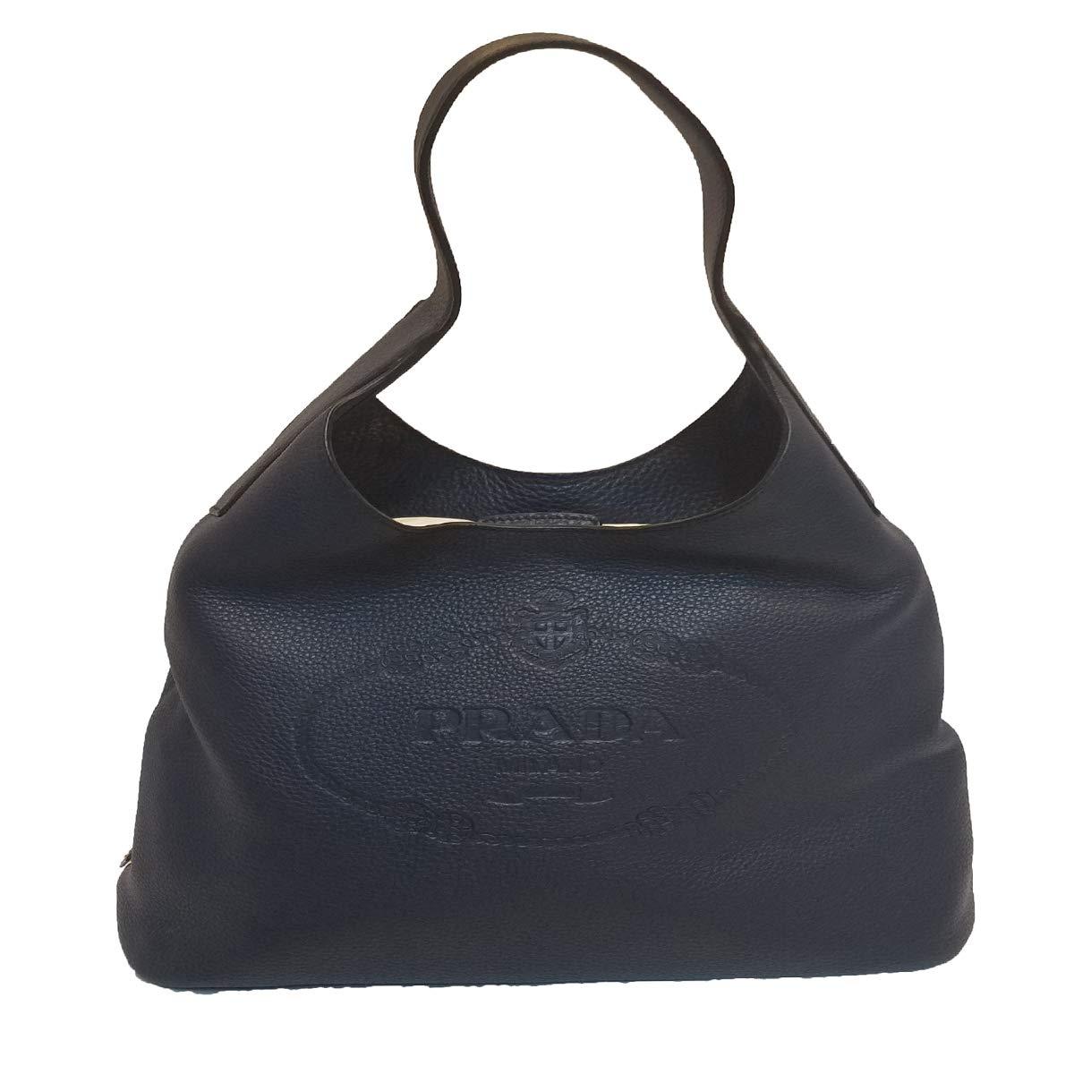 8f7f11b7eb4b Amazon.com: Prada Vitello Daino Navy Blue Hobo Designer Handbag for Women  1BC026: Shoes