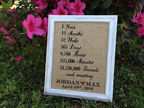 "Him And Her Wedding Gifts: Amazon.com: Burlap ""1 Year ... And Counting"