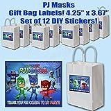 "PJ Masks Party Favors Supplies Decorations Gift Bag Label STICKERS ONLY 3.75"" x 4.75"" -12 pcs Catboy, Owlette, Gekko"