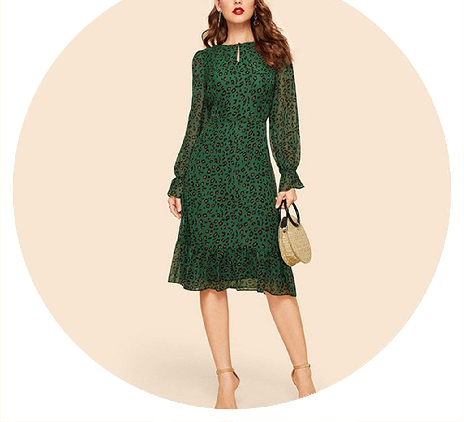 Multi Brave pinkmary Keyhole Neck Flounce Sleeve Leopard Dress Vintage High Waist Fit and Flare Spring Elegant Women Dresses