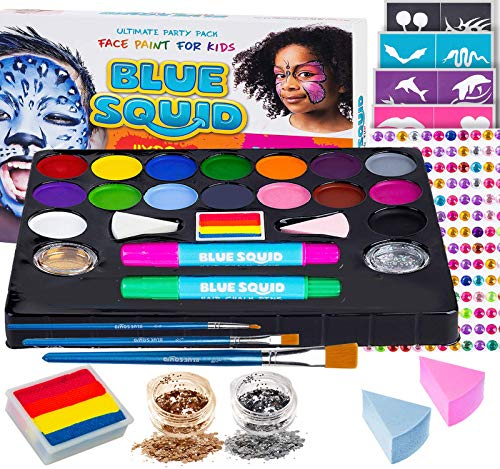 Face Paint Kit for Kids - Ultimate Face Painting Kit 51-Piece 16 Vibrant Safe Body Paint - Rainbow Cake Hair Chalks Stencils Gems Sponges Professional Brushes Glitter Quality Kids Makeup Halloween (Best Face Paint Costumes)