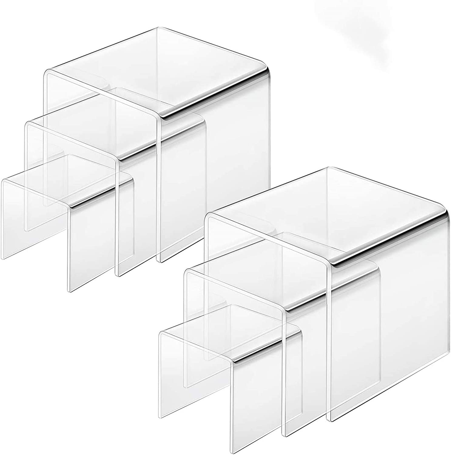 Cliselda Clear Acrylic Square Display Risers Stand Showcase for Jewelry, Figures, Cupcake Candy Dessert 3