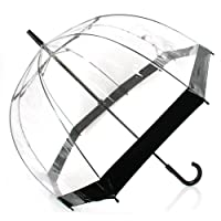 DOME SEE THRU WEDDING UMBRELLA CLEAR WITH BLACK TRIM & HANDLE & DEEPEST DOME FOR PROTECTION.