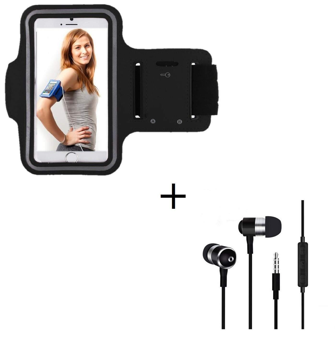 Couleur Noir Shot Case Brassard de Sport + Ecouteurs Metal avec Telecommande /& Micro Pack Sport pour Honor 6X Smartphone T6