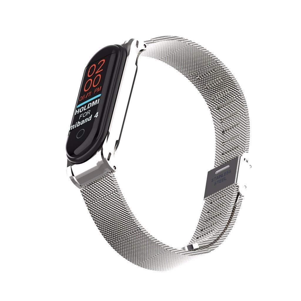 Happysdh Armband f/ür Xiaomi Mi Band 4 Smartwatch Zubeh/ör Edelstahl Ersatzarmband Armb/änder Smartwatch f/ür M/änner Frauen