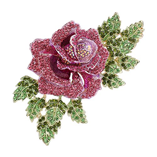 EVER FAITH Gold-Tone 6 Inch Rose Pink Austrian Crystal Brooch