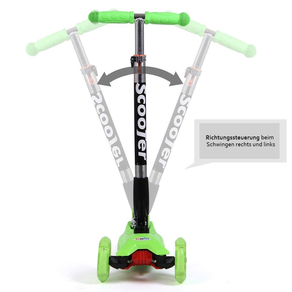 FASCOL® Twist & Roll Patinete scooter plegable para niños con 3 ruedas y PU LED flash ruedas,mini patinetes freestyle scooter in Verde(2-17 años): ...