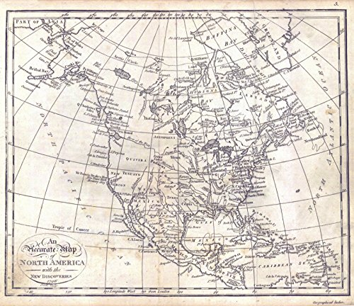Vintage Map | 1796 An Accurate Map of North America with the New Discoveries | Historic Poster Art Reproduction | 29in x 24in