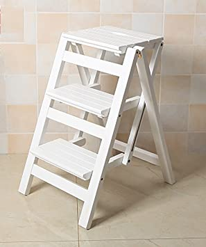 ZEMIN Wooden Ladder Chair Folding Fold Up Library Step Ladder Foldable  Solid Wood Staircase Stool Three